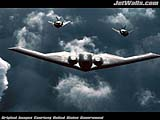 """B-2 Spirit bomber followed by two F-117 Nighthawks"" - Wallpaper No.48.  Click for 640x480 or select another size."