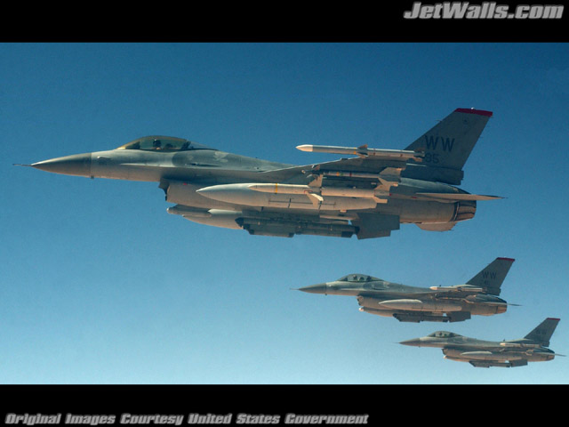 """Formation of F-16 Fighting Falcons"" - Wallpaper No. 96 of 101. Right click for saving options."